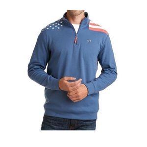Vineyard Vines American Flag 1/4 Pullover Zip